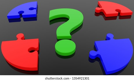 Concept of green question mark and puzzle in red and blue.3d illustration