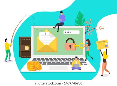 Concept group of hacker stealing data and doing phising via email, template background isolated with small peopl, it can be used for presentation, web design, banner ui ux, landing page, flyer.