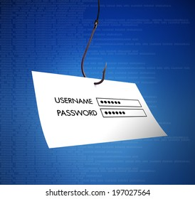 Concept of hacking or fishing a login and password with malware program on blue digital background