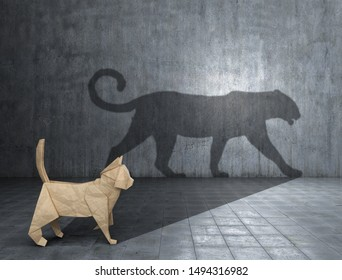 Concept of hidden potential. A paper figure of a cat that fills the shadow of a jaguar. 3D illustration