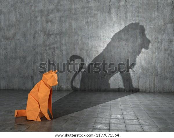 Konzept des verborgenen Potenzials. Eine Papierfigur einer Katze, die den Schatten eines Löwen füllt. 3D-Illustration