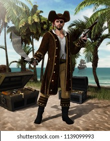 concept of a high seas pirate captain holding a scimitar sword and a flintlock pistol defending his treasure island, 3d render illustration