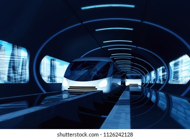 Concept of high-speed magnetic levitation train moving in tunnel across the city. Modern city transport. 3d rendering illustration