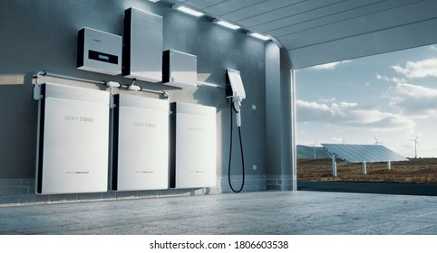 Concept of a home energy storage system based on a lithium ion battery pack situated in a modern garage with  view on a vast landscape with solar power plant and wind turbine farm. 3d rendering.
