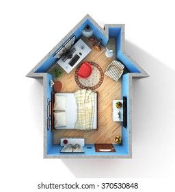 Concept of home. Flat full of things in form of house in top view. Rent, buy and realization concept.
