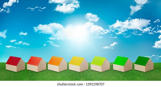 Concept house heating. Save electricity and gas. Ecological housing. Efficient and economical heat. Construction with renewable energy heating. Series of houses forming Energy efficiency scale