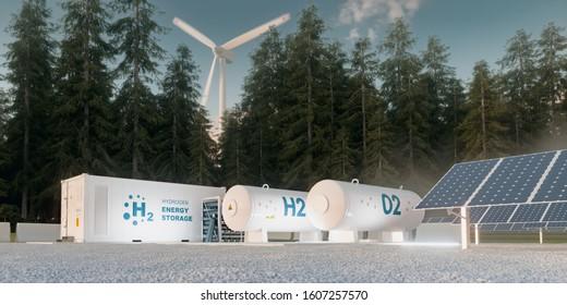 Konzept der Wasserstoffspeicherung aus erneuerbaren Quellen - Windturbinen und Fotovoltaik. 3D-Rendering