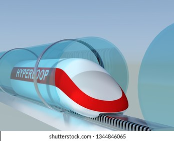 Concept of hyperloop Modern city transport magnetic levitation train moving in a glass tube across the city. 3d rendering illustration