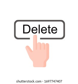 Concept icon, finger click, click on the computer keyboard button to delete unwanted information separately on a white background