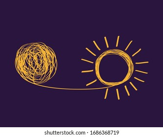 concept icon showing untangling tangled line into sunny creative idea. metaphor for mentor or coach in troubled business. concept of dealing with chaotic thought processes, confusion, personality diso