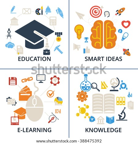 0174842d Concept Icons Education, Smart Ideas, E-learning and Knowledge sets. Raster  illustration