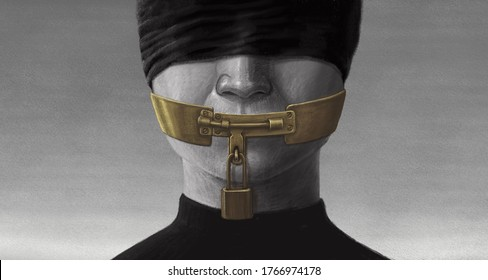 Concept idea of free speech censored and freedom of expression, surreal portrait artwork, painting art