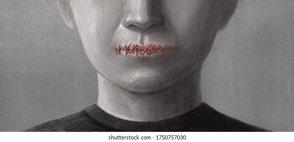 Concept idea of freedom speech ,Freedom of expression and censored, surreal painting, portrait illustration, political art, horror
