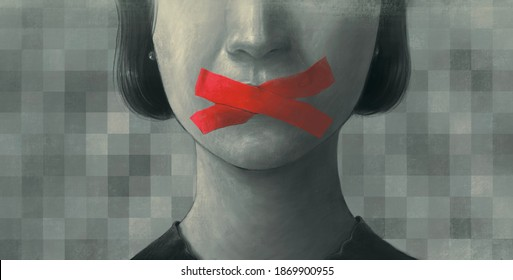 Concept idea freedom of speech freedom of expression democracy feminism and censored, surreal painting, portrait illustration, political art, women's rights, conceptual artwork