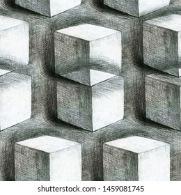 Concept of illusion black and white seamless hand drawn by pencil on paper illustration. Repeated 3d cubes