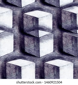 Concept of illusion seamless hand drawn by pencil on paper illustration. Repeated 3d cubes