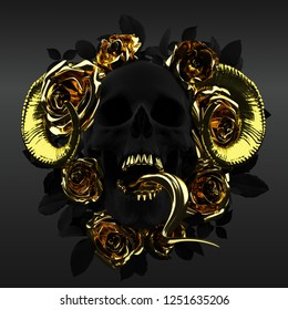 Concept illustration 3D rendering of scary dark black skull sticking snake tongues out and devilish horns surrounded by a golden roses wreath with leaves.