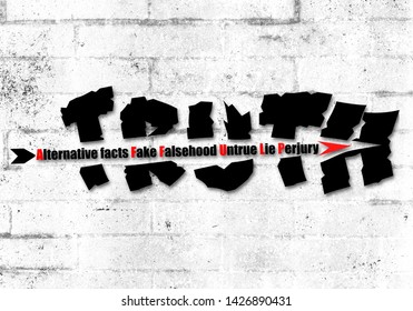 Concept illustration an arrow of Alternative facts, Fake, Falsehood, untrue, lie and perjury shattering Truth text paint old wall background