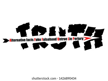 Concept illustration an arrow of Alternative facts, Fake, Falsehood, untrue, lie and perjury shattering Truth text on white background