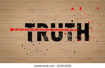 Concept illustration an arrow of Lies shattering Truth text on board paint splattered background