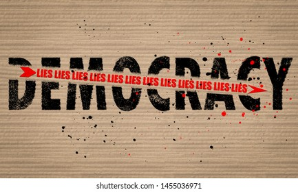 Concept illustration an arrow of Lies shattering Democracy text on board paint splattered background