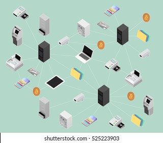Concept illustration for block chain network. 3D rendering image with clipping path.