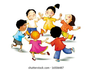 a concept illustration of children play together to show concept of happiness, Hand drawing outline and color