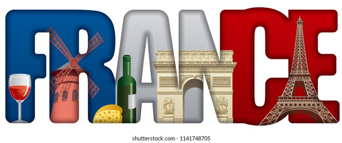 concept illustration of france incscription with landmarks