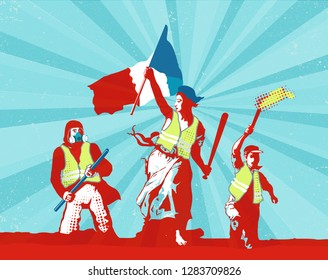 Concept illustration of France yellow vests
