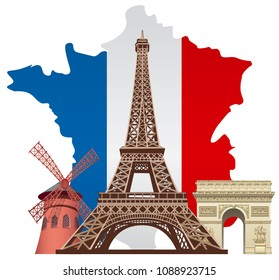 concept illustration of french landmarks with map and flag