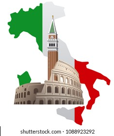 concept illustration of italy with map, landmarks and flag