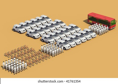 Concept illustration, the same number of people, occupies a different space, which depends on means of transport used