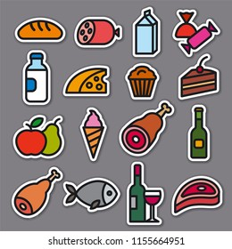 concept illustration of set food grocery stickers