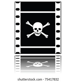 Concept illustration showing a filmstrip with a skull and crossed bones, symbolizing pirated movies