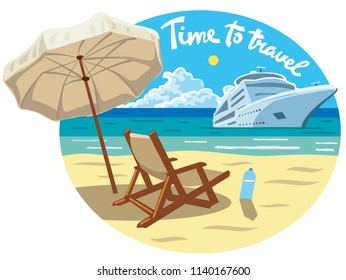 concept illustration with slogan of beach resort and ocean cruise ship