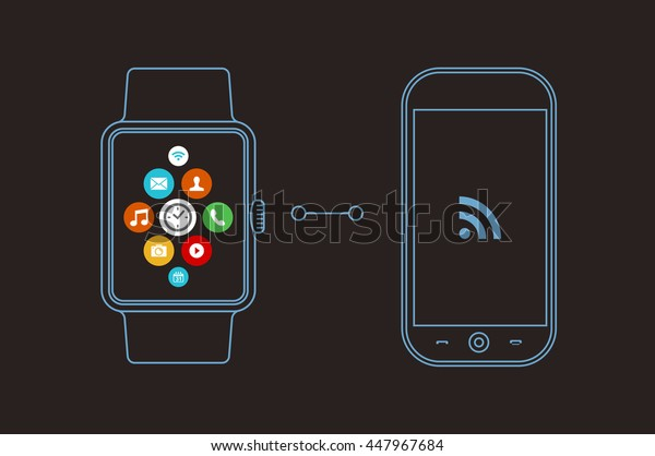 Concept illustration of smart watch and mobile phone with social app icons on screen in outline line art style.
