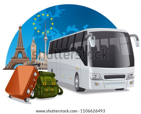concept illustration of travel bus tour in europe