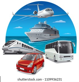 concept illustration of travel and journey by kind of different transport