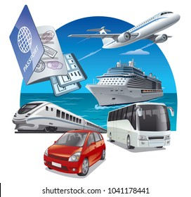 concept illustration of travel and journey transport, car, airplane, bus and train