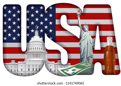 concept illustration of usa incscription with landmarks