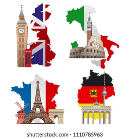 concept illustrations of europe landmarks and maps, france, italy, germany and england