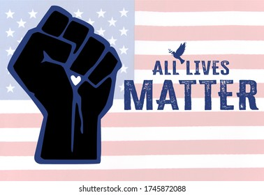Concept image of the All Lives Matter socio-political peace movement to stop black lives matter demonstration in the American USA US society and to support police law enforcement