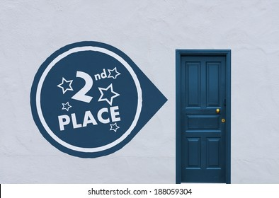 concept image of a closed blue entry door in a white wall with a 2nd place symbol on the left side