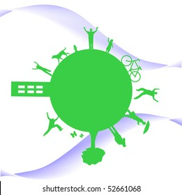 Concept image of a green,active planet on a white background.