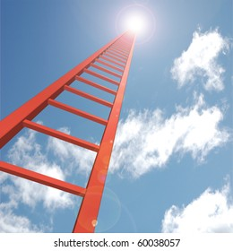 Concept image of a red ladder reaching up to the sky.