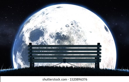 A concept image showing an empty park bench on a grassy hill at night in front of a full moon and starry night background - 3D render