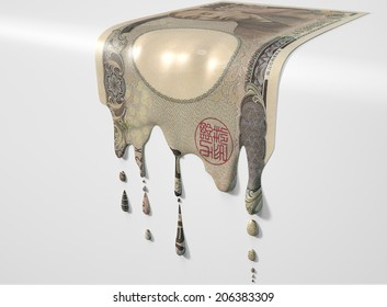 A concept image showing a regular Japanese Yen banknote that is half melted and liquefied dripping on an isolated studio background