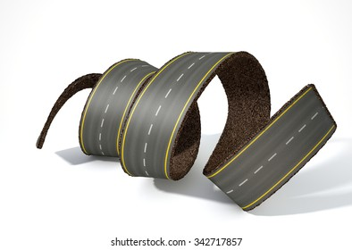 A concept image of a strip of tar that has been peeled and curled on an isolated white studio background