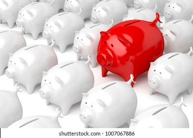 Concept image with unique red piggy bank, different from the others. 3D illustration