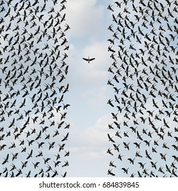 Concept of individualism and Individuality symbol or independent thinker idea as a group of birds flying with one individual in the opposite direction in a 3D illustration style.